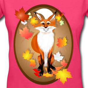 Happy Fox in Fall oval - Women's V-Neck T-Shirt