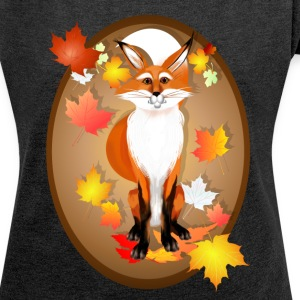 Happy Fox in Fall oval - Women´s Rolled Sleeve Boxy T-Shirt