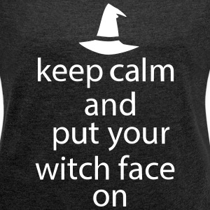 Halloween Keep Calm Witch Face Statement - Women´s Rolled Sleeve Boxy T-Shirt
