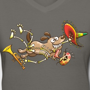 Mischievous Dog Stealing Mexican Skeleton T-Shirts - Women's V-Neck T-Shirt