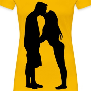 Couple Kissing Silhouette - Women's Premium T-Shirt