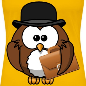 Owl with hat and briefcase - Women's Premium T-Shirt