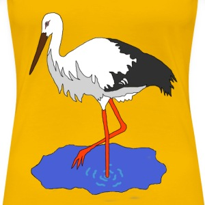 Stork in a pond - Women's Premium T-Shirt