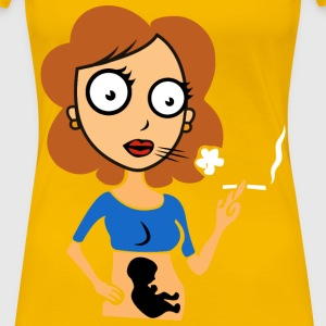 Pregnant Lady Smoking Redrawn No Background - Women's Premium T-Shirt