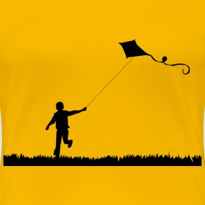 Boy Flying Kite Silhouette - Women's Premium T-Shirt