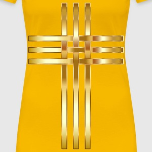 Interlocked Stylized Golden Cross No Background - Women's Premium T-Shirt