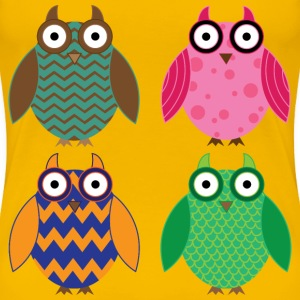 Four Colorful Owls - Women's Premium T-Shirt