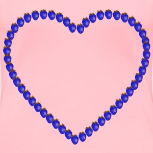 Blue Strawberry Heart - Women's Premium T-Shirt