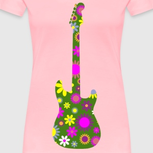 Retro Floral Guitar - Women's Premium T-Shirt