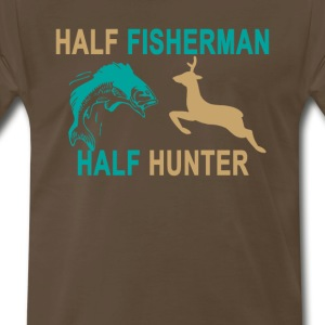 half_fisherman_half_hunter_tshirt_ - Men's Premium T-Shirt