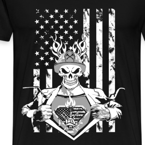 Firefighter superhero - American flag - Men's Premium T-Shirt