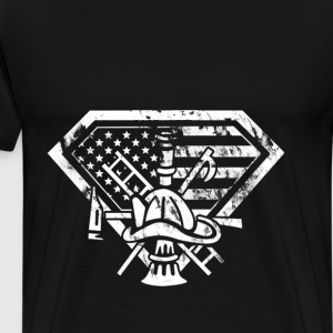 Firefighter superhero - American flag T-shirt - Men's Premium T-Shirt