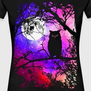 Owl Moon with Night Sky Stars - Women's Premium T-Shirt