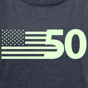 usa_flag-50_states-1c T-Shirts - Women´s Roll Cuff T-Shirt
