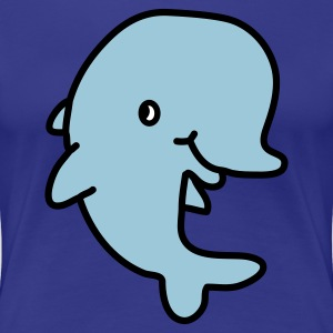 Happy Dolphin (vector - 3 color) Women's T-Shirts - Women's Premium T-Shirt