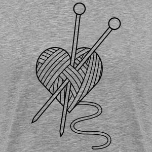 i love crochet knitting yarn heart wool T-Shirts - Men's Premium T-Shirt