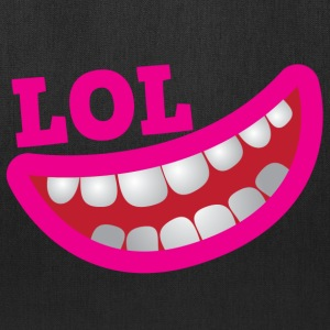 LOL happy smiling teeth with open mouth joke Bags & backpacks - Tote Bag