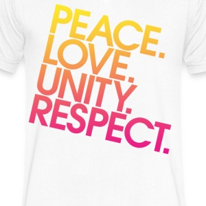 Peace Love Unity Respect (PLUR) T-Shirts - Men's V-Neck T-Shirt by Canvas