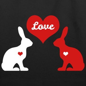 bunny rabbit hare cony leveret bunnies heart love Bags & backpacks - Eco-Friendly Cotton Tote