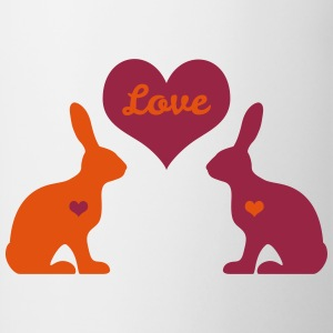 bunny rabbit hare cony leveret bunnies heart love Bottles & Mugs - Contrast Coffee Mug