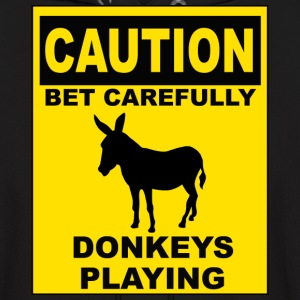POKER: CAUTION Donkeys Playing Hoodies - Men's Hoodie
