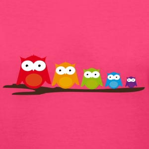 Five colorful owls Women's T-Shirts - Women's V-Neck T-Shirt