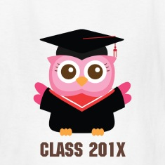 cute pink owl with graduate hat Kids' Shirts