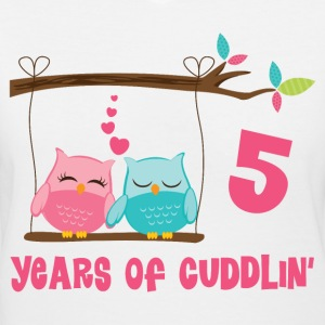5th Anniversary Cuddling Owls Women's T-Shirts - Women's V-Neck T-Shirt