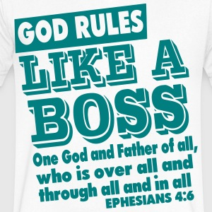 GOD RULES LIKE A BOSS T-Shirts - Men's V-Neck T-Shirt by Canvas