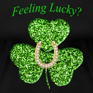 Funny Glitter Shamrock And Horseshoe Shirt - Women's Premium T-Shirt