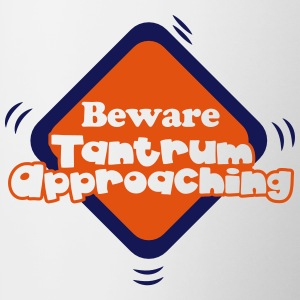 beware tantrum approaching warning sign Bottles & Mugs - Contrast Coffee Mug