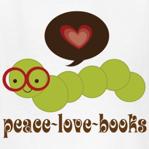 Bookworm Peace Love Books Kids' Shirts - Kids' T-Shirt