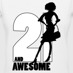 21 and Awesome - Women's V-Neck T-Shirt