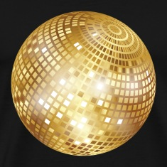 Disco Ball / Mirror Ball (Gold, PNG) T-Shirt