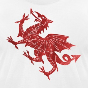Welsh Dragon Textured T-Shirts - Men's T-Shirt by American Apparel