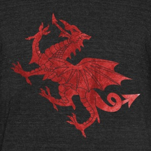 Welsh Dragon Textured T-Shirts - Unisex Tri-Blend T-Shirt by American Apparel