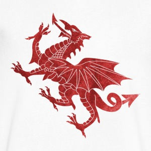 Welsh Dragon Textured T-Shirts - Men's V-Neck T-Shirt by Canvas