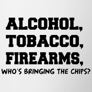 ALCOHOL TOBACCO FIREARMS Who's Bringing the Chips? Bottles & Mugs - Contrast Coffee Mug