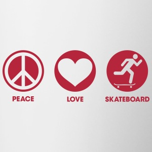 Peace Love Skateboard Bottles & Mugs - Contrast Coffee Mug