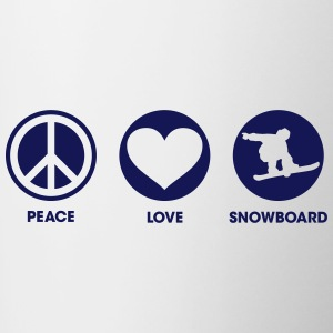 Peace Love Snowboard Bottles & Mugs - Contrast Coffee Mug