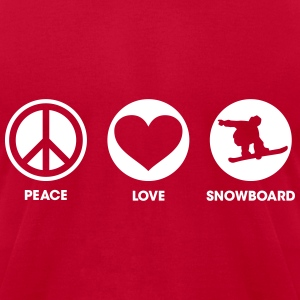 Peace Love Snowboard T-Shirts - Men's T-Shirt by American Apparel