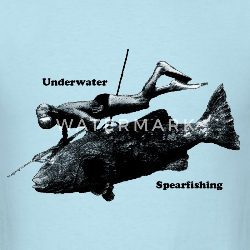 Underwater Spearfishing Diver with Fish T-Shirts - Men's T-Shirt