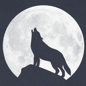 Howling Wolf - Moon T-Shirts - Men's V-Neck T-Shirt by Canvas