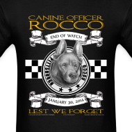 Design ~ K9 Rocco Memorial T Shirt. Black and Gold Edition