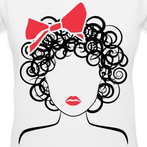 Coily Girl with Red Bow_Global Couture_logo Women' - Women's V-Neck T-Shirt