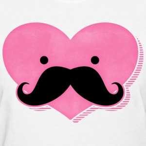 Kawaii Mustache Heart T-Shirt - Women's T-Shirt
