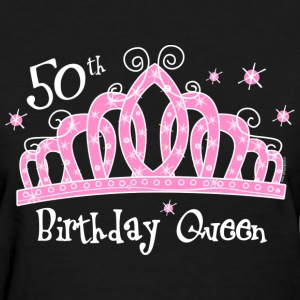 Tiara 50th Birthday Queen Dark T-Shirt - Women's T-Shirt