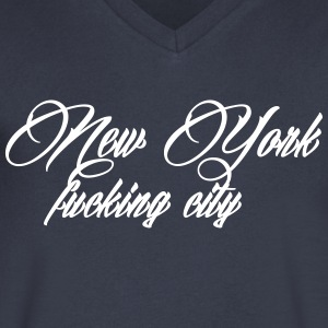 New York Fucking City T-Shirts - Men's V-Neck T-Shirt by Canvas