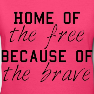Home_of_Brave_Pink - Women's V-Neck T-Shirt