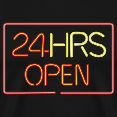 24 HRS neon sign